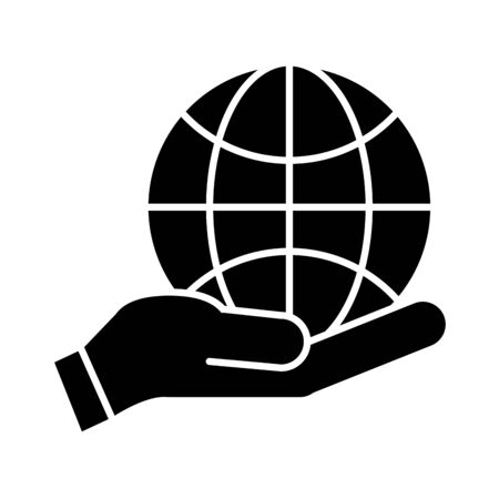 hands with world planet earth flat style icon vector illustration design