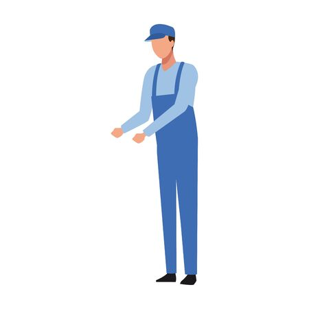Car mechanic standing over white background, colorful design, vector illustration