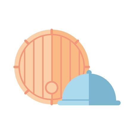 wine barrel drink with tray server vector illustration design
