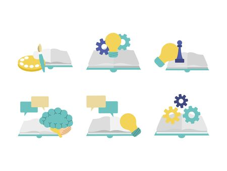 books and skills concept icon set over white background, colorful design, vector illustration
