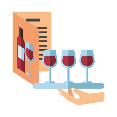 wine drink in card menu restaurant with tray server vector illustration design