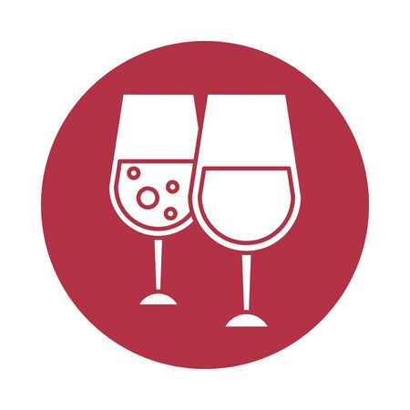 wine cups glasses toast icon vector illustration design