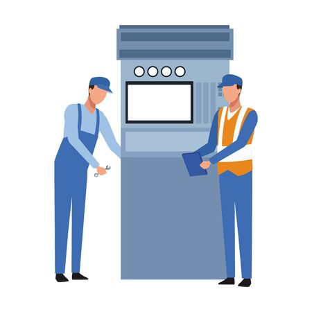 car mechanics and car scanner machine over white background, vector illustration