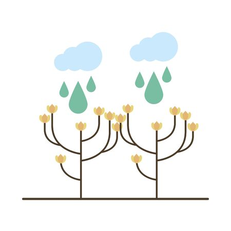 beautiful flowers in branch garden with clouds rainy vector illustration design