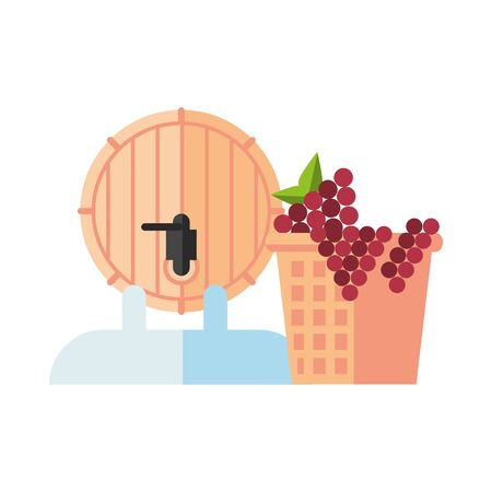wine barrel drink and grapes in basket vector illustration design Ilustração
