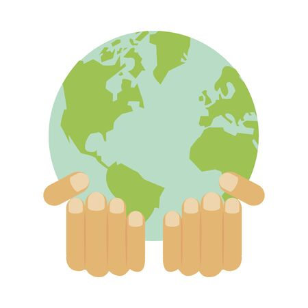 hands lifting world planet earth ecology icon vector illustration design