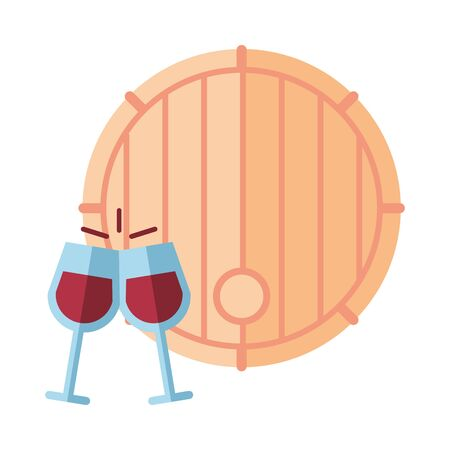 wine barrel drink and cups vector illustration design