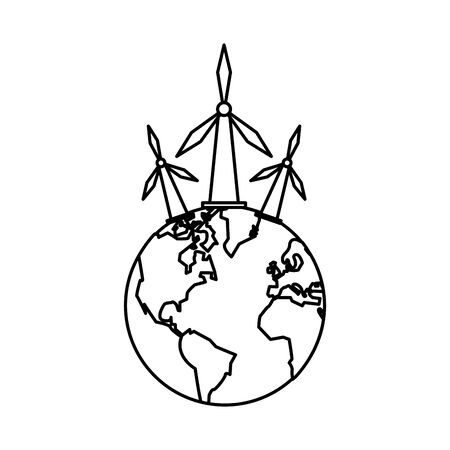 world planet earth with windmills vector illustration design Ilustrace