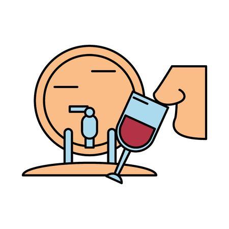 wine cup drink with nose smelling vector illustration design Ilustração Vetorial