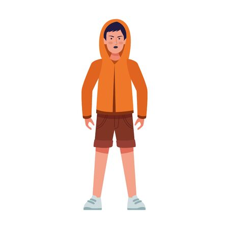 cartoon young boy standing wearing sweater and shorts over white background, colorful design, vector illustration Stok Fotoğraf - 140623498