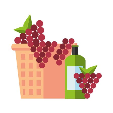 wine cup and bottle with grapes fruits vector illustration design