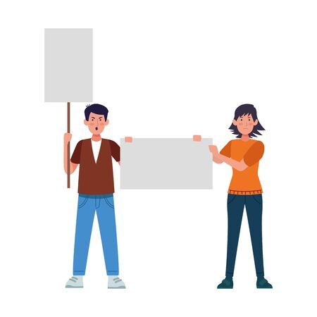 cartoon angry man and woman standing holding blank signs over white background, colorful design, vector illustration