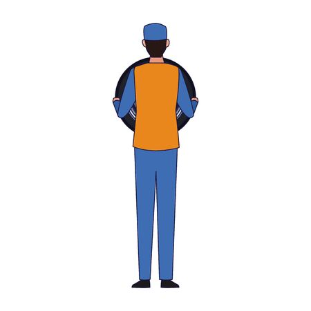 car mechanic standing back icon over white background, colorful design, vector illustration