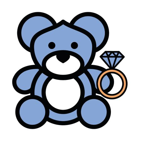 cute bear teddy stuffed character vector illustration design Ilustrace