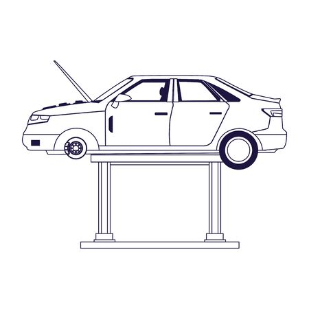 lifted car with the hood open over white background, flat design, vector illustration
