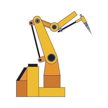robotic arm machine icon over white background, flat design, vector illustration 向量圖像