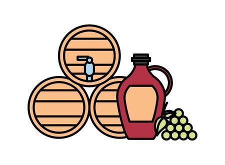 wine barrels drink isolated icon vector illustration design