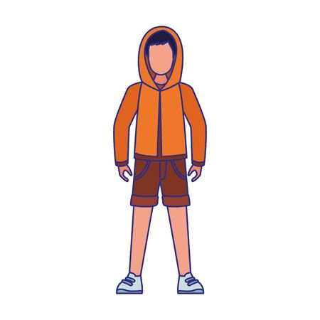 cartoon young boy standing wearing sweater and shorts over white background, colorful design, vector illustration 向量圖像