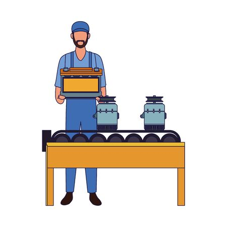 mechanic man holding a battery and car parts on transport band machine over white background, vector illustration