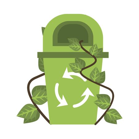 waste bin with recycle arrows and leafs plant vector illustration design