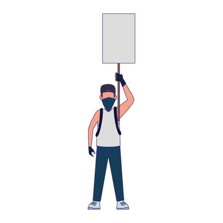cartoon man with bandana in the face and holding a blank sign over white background, colorful design, vector illustration