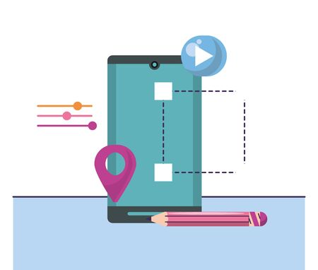 smartphone device technology with pin location vector illustration design