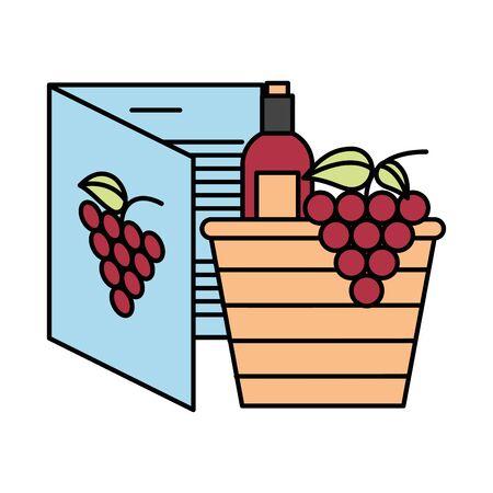 wine bottles with grapes in basket straw vector illustration design 向量圖像