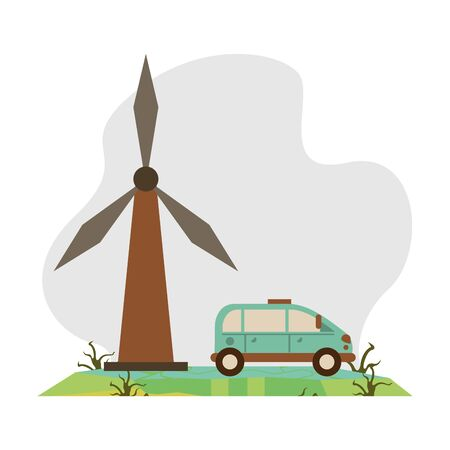 wind power turbine with car vehicle vector illustration design