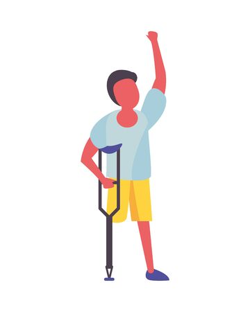 activist man protesting in crutch vector illustration design Ilustração