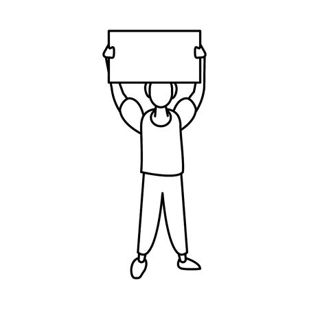 activist man with protest banner vector illustration design