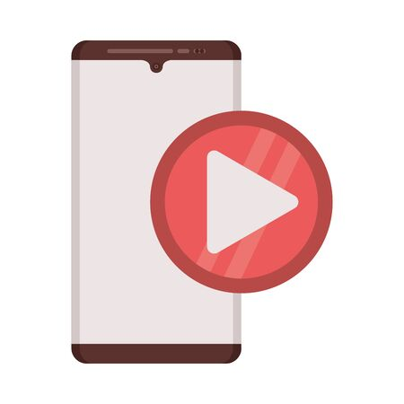 smartphone with play button media player vector illustration design