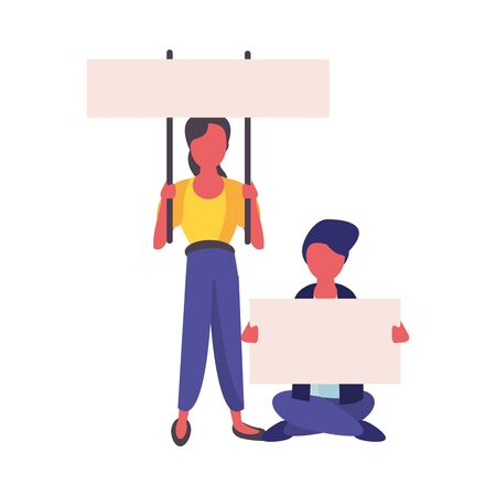 activists couple with protest banners vector illustration design