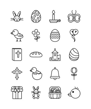 bundle of easter set line icons vector illustration design