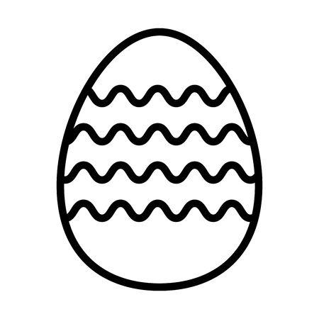 easter egg painted with waves stripes line style vector illustration design Ilustração