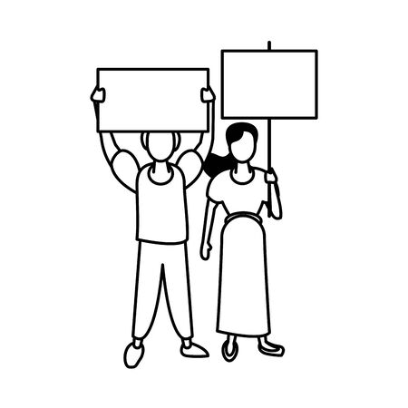 activists couple with protest banners vector illustration design Ilustração