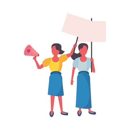 activists women with protest banners and megaphone vector illustration design