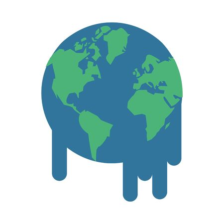 world planet earth melting icon vector illustration design Ilustrace