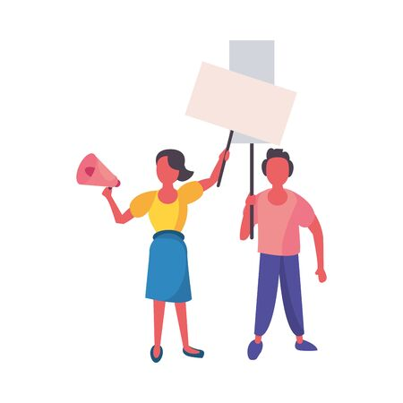 activists couple with protest banner and megaphone vector illustration design Ilustração