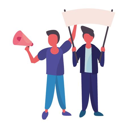 activists men with protest banner and megaphone vector illustration design Ilustração