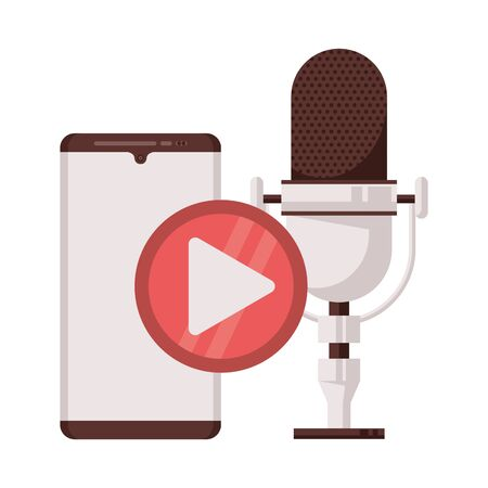 radio microphone retro with smartphone and play button vector illustration design