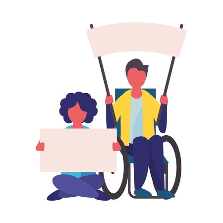 activist men in wheelchair with protest banner vector illustration design Ilustração