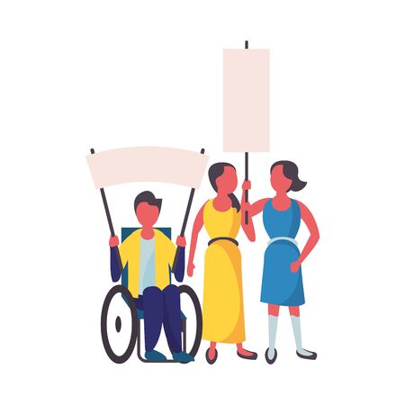 activists people in wheelchair with protest banners vector illustration design