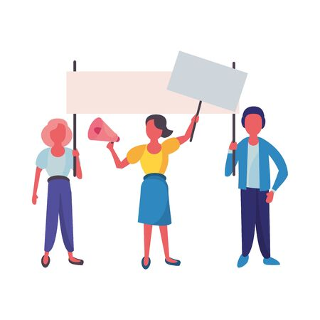 activists people with protest banners and megaphone vector illustration design Ilustração