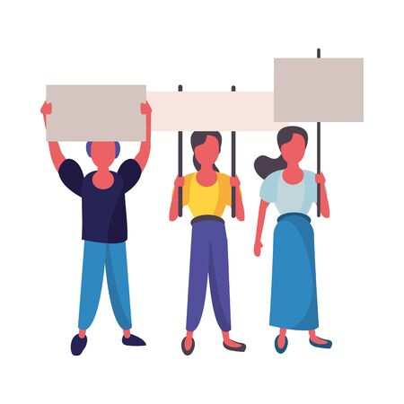 activists people with protest banners vector illustration design Illustration