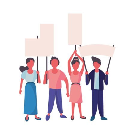 activists people with protest banners vector illustration design Ilustração