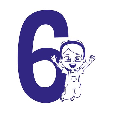 number six and happy girl jumping over white background, vector illustration