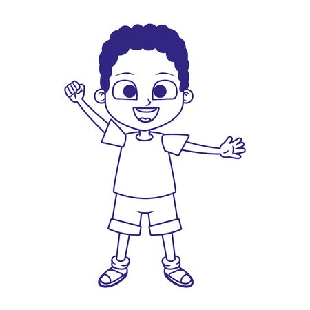 cartoon boy waving icon over white background, flat design, vector illustration Ilustracja