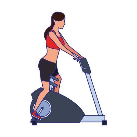 avatar woman on gym machine icon over white background, vector illustration Ilustracja