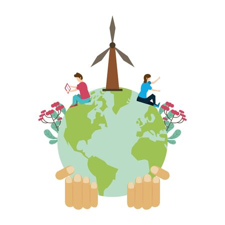 world planet earth with windmills and couple vector illustration design