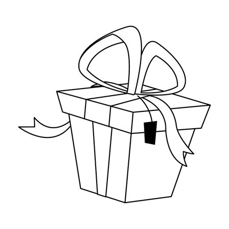 gift box icon over white background, flat design, vector illustration